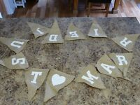"""Hessian """"Just Married"""" wedding bunting for sale"""