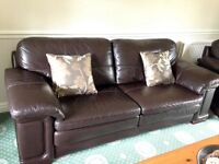 Brown leather 3 piece suite, great condition, £400 ONO