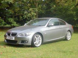 BMW 3 SERIES 3.0D 325D M SPORT AUTO COUPE Black Leather Seats (grey) 2011