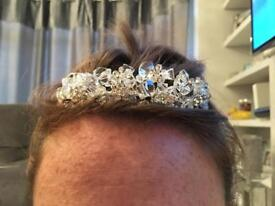 Crystal Beaded Diamanté Tiara Wedding