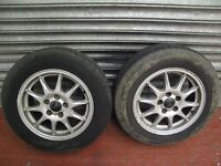"Pair VOLVO 5 stud 15"" wheels and tyres fit S60 S80 V70 with 195/65 15 GENERAL tyres"
