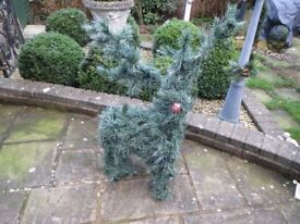 Large artificial spruce reindeer outdoor Chrismas decoration