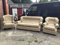LEATHER. HESTERFIELD 3 PIECE SUITE IN BEIGE LEATHER VERY CLEAN CONDITION BARGAIN AT £499 CAN DELIVER