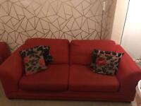 Red and brown DFS sofa 3 & 2 make an offer