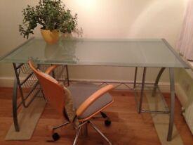 Beautiful Glass Desk with Silver Frame Length 150cm, Depth 75cm, Height 75 cm