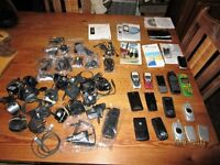 SELECTION OF 12 IN NUMBER. VINTAGE MOTOROLA, NOKIA, SAMSUNG, MOBILE PHONES, CHARGERS AND EAR PHONES