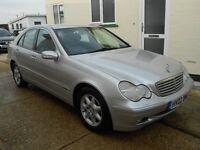 Mercedes C200 Kompressor Petrol 2.0 litre. Silver with grey cloth interior 110000 miles