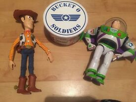 Toy story buzz light year, woodie, and soldiers