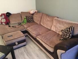 DFS Brown Corner Sofa with Storage Footstool