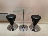 Square glass table and 2 bar stools
