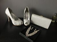 Size 4 silver heels. Necklace and earrings(earrings haven't been worn) and silver Clutch Bag