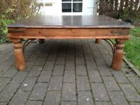 A Wrought Iron Coffee Table Solid Wood (3'2 x 3'2) Rustic