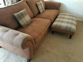 Dfs 4 seater sofa brown studded