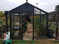 Cedar Wooden Greenhouse 28ft x 10ft polycarb roof, Bayliss openers