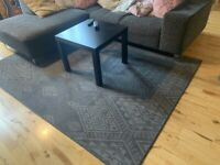 Large grey and charcoal 160cm x 225cm loop pile rug