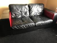 Dfs black & red full leather modern sofas can deliver today