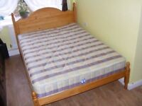 CAN DELIVER - PINE DOUBLE BED WITH MATTRESS IN VERY GOOD CONDITION