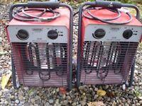 Draper electric heaters x2, spares or repair