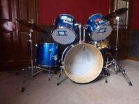5 piece drum kit, with practice pads and extras!
