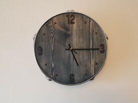 Reclaimed vintage retro tom drum clock