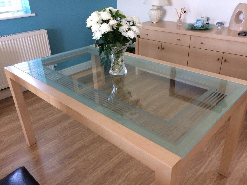 Light Wood And Glass Dining Table In Newquay Cornwall Gumtree