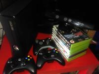 Xbox 360 with Kinect + Controllers + Games