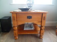 Solid polished wood lamp table
