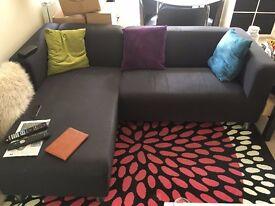 Black Fabric Left Hand Corner Sofa