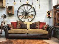 Chesterfield Perez 4 Seater Pillow Back Split Sofa Brown Leather & Fabric