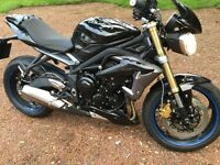 Street Triple almost as new 1482 dry miles heated grips belly pan tail tidy adjust levers datatag