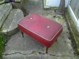 Vintage cool footstool 1960s red and gold