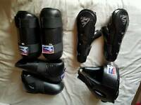 Martial arts kick boxing gloves, shin & foot pads, head guard