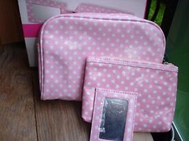 Wash bag and cosmetic bag and mirror Brand New in Box!