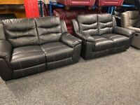 NEW EX DISPLAY LAZYBOY HARRIER BLACK LEATHER 2 + 2 SEATER RECLINER SOFAS 70%Off RRP