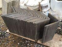 Concrete ridges tiles (new & unused), slate grey, x20, 85degree angle