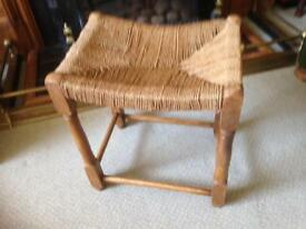 Retro woven top stool with wooden frame