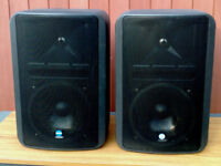 Pair of Mackie RCF Monitor 8 speakers with wall mounts. 8 ohm.