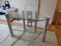 TV Corner Stand - Silver - 3x Tempered Glass Shelves.