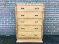 Vintage Circa 1950s Art Deco Tall Boy Chest of Drawers