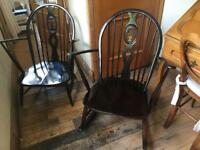 A SUPER PAIR OF VINTAGE ERCOL CHAIRS ONE ARMCHAIR WITH CUSHIONS ONE ROCKING CHAIR FLUER DE LYEES