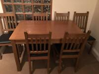 Cucina oak dining table and 6 chairs