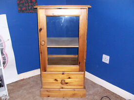 Pine Display Cabinet with Glass Front