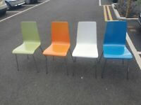 4 dining chair in clous white/orange/blue and green see the pictures for condition very solid