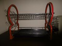 2 Tier Dish Drainer Red Chrome With Removable Drip Tray