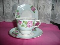 Colclough 5 x Trios Torquise with Pink Roses Very Pretty