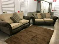 BRAND NEW 3+3 SEATER FABRIC BROWN SOFA SETTEE COUCH FAST DELIVERY AVAIALABLE!!!