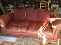 Leather sofa , good condition lovely colour sort of mid tan need space sadly must go £185 ono