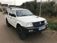 2006 Mitsubishi L200 4 Work Crew Cab White Diesel 2.5l Manual MOT Feb 18 4x4