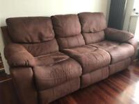 3 seater faux suede recliner sofa