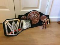 WWE tag team championship and heavyweight championship belts and Daniel Bryan figure